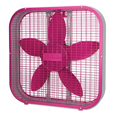 Sunbeam 20-inch Box Fan, Pink, (SBF2012PNK-CN)