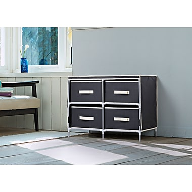 Homestar 4-Drawer Fabric Dresser, Black, (ZH141796BL)