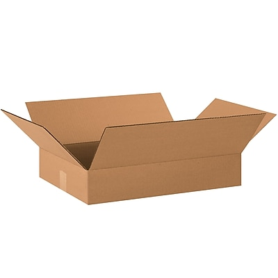 "Flat Corrugated Boxes, 20"" x 14"" x 3"", Kraft, 25/Bundle (20143)"