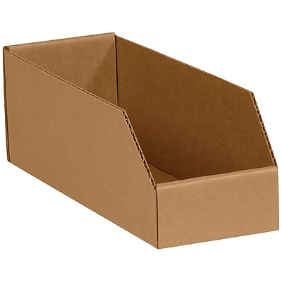 "Open Top Bin Boxes, 4"" x 9"" x 4 1/2"", Kraft, 50 /Bundle (BINBIN49K)"