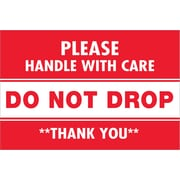 "Tape Logic® Labels, ""Do Not Drop"", 2"" x 3"", Red/White, 500/Roll (DL1313)"