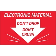 "Tape Logic® Labels, ""Don't Drop Don't Crush - Electronic Material"", 3"" x 5"", Red/White, 500/Roll (DL1315)"