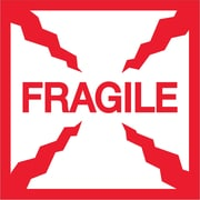 "Tape Logic® Labels, ""Fragile"", 2"" x 2"", Red/White, 500/Roll (DL1316)"