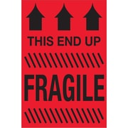 "Tape Logic® Labels, ""This End Up - Fragile"", 2"" x 3"", Fluorescent Red, 500/Roll (DL1325)"