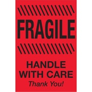 "Tape Logic® Labels, ""Fragile - Handle With Care"", 2"" x 3"", Fluorescent Red, 500/Roll (DL1326)"