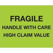 "Tape Logic® Labels, ""Fragile Handle With Care - High Claim Value"", 8"" x 10"", Fluorescent Green, 250/Roll (DL1333)"
