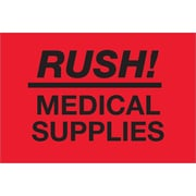 "Tape Logic® Labels, ""Rush - Medical Supplies"", Fluorescent Red, 500/Roll (DL1335)"