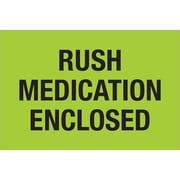 "Tape Logic® Labels, ""Rush - Medication Enclosed"", Fluorescent Green, 500/Roll (DL1336)"