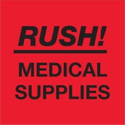 "Tape Logic® Labels, ""Rush - Medical Supplies"", Fluorescent Red, 500/Roll (DL1337)"