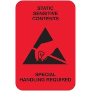 "Tape Logic® Labels, ""Static Sensitive Contents"", 2"" x 3"", Fluorescent Red, 500/Roll (DL1372)"