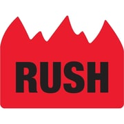 """Tape Logic® Flame Labels, """"Rush"""" (Bill of Lading), 1 1/2"""" x 2"""", Red/Black, 500/Roll (DL1401)"""