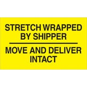 "Labels, ""Stretch Wrapped By Shipper"", 3 x 5, Black/Yellow, 500/Roll (DL3172)"