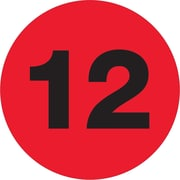 """Tape Logic® Number Labels, """"12"""", 3"""" Circle, Fluorescent Red, 500/Roll (DL1353)"""