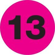 "Tape Logic® Number Labels, ""13"", 3"" Circle, Fluorescent Pink, 500/Roll (DL1354)"