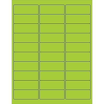 "Tape Logic® Rectangle Laser Labels, 2 5/8"" x 1"", Fluorescent Green, 3000/Case (LL173GN)"