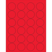 """Tape Logic® Circle Laser Labels, 1 5/8"""", Fluorescent Red, 2400/Case (LL193RD)"""