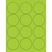 "Tape Logic® Circle Laser Labels, 2 1/2"", Fluorescent Green, 1200/Case (LL194GN)"