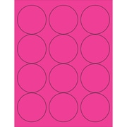"Tape Logic® Circle Laser Labels, 2 1/2"", Fluorescent Pink, 1200/Case (LL194PK)"