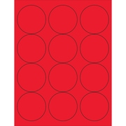 "Tape Logic® Circle Laser Labels, 2 1/2"", Fluorescent Red, 1200/Case (LL194RD)"