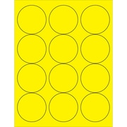 "Tape Logic® Circle Laser Labels, 2 1/2"", Fluorescent Yellow, 1200/Case (LL194YE)"