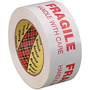 """3M 3772 Printed Message Tape, 1.9 Mil, 2"""" x 110 yds., White/Red, 6/Case (T90237726PK)"""