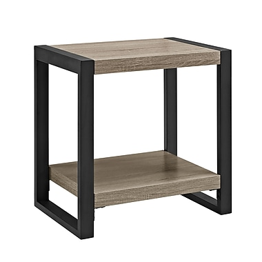 Walker Edison Driftwood Medium Density Fiberboard Accent Table, Grey (SP24UBSTAG)