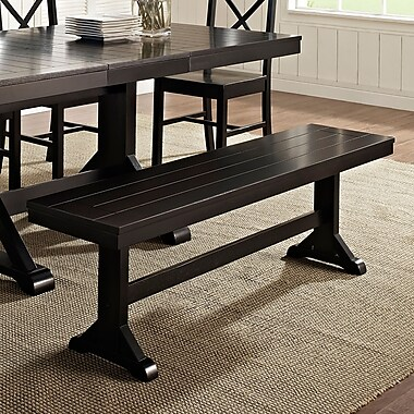 Walker Edison Solid Wood Dining Bench, Antique Black (SPBW1BL)