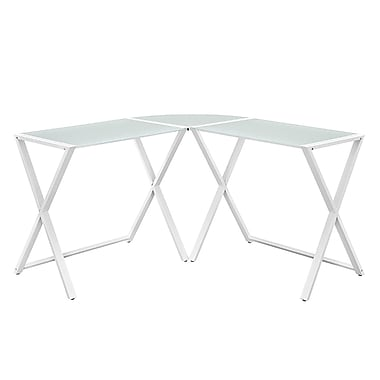 Walker Edison Glass Metal Corner Computer Desk, White (SP51X29WH)