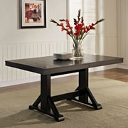 Walker Edison Solid Wood Dining Table; Antique Black (SPW60WBL)