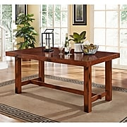 Walker Edison Solid Wood Dining Table; Dark Oak (SPW60HDO)