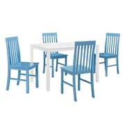 Walker Edison 5-Piece Wood Dining Set, Powder Blue (SPW485PCPB)