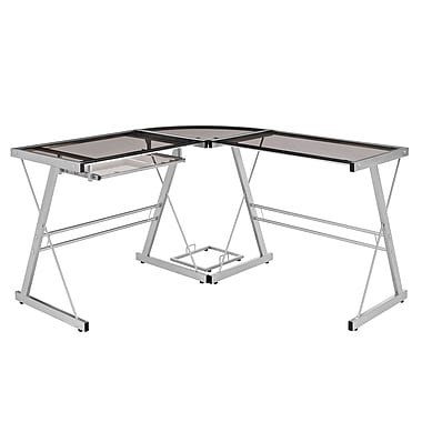 Walker Edison Glass Metal Corner Computer Desk, Grey (SP51L29SM)