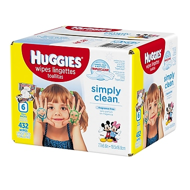 Huggies Simply Clean Wipes Refills, 432 Wipes/Box, (43249)