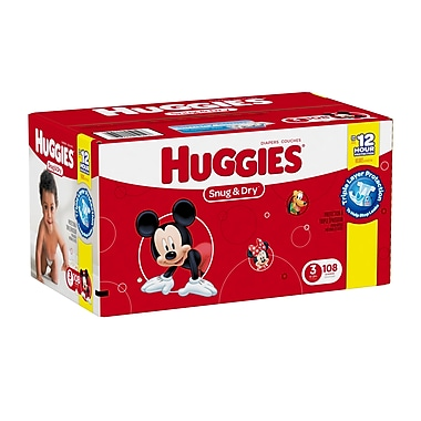 Huggies - Couches Snug and Dry Diapers Giga Jr. Step 3, bte/108 couches, (45919)