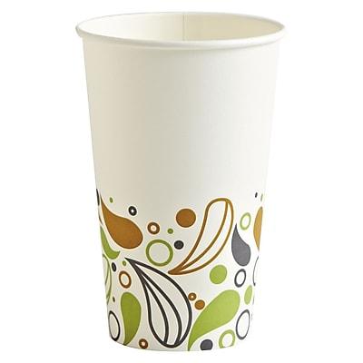 Boardwalk Deerfield Printed Paper Hot Cups, 16 Oz, White/yellow/green/purple 922567