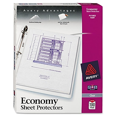 Avery Diamond Clear® Economy Weight Sheet Protectors, 100/Pack