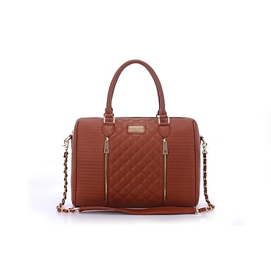 Sandy Lisa Siena Quilted Tote Bag, Brown, Fits up to 14.1