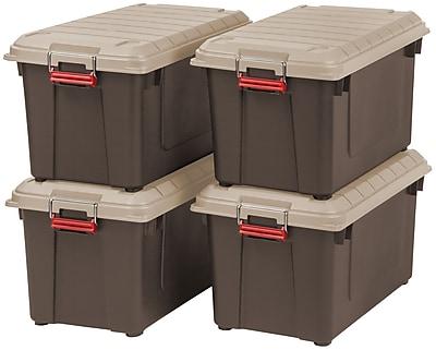 IRIS® 87 Quart Weathertight Heavy Duty Tote, Brown, 4 Pack (250183)