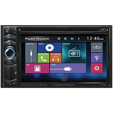 Power Acoustik – Récepteur DVD avec écran ACL tactile double DIN de 6,2 po pour tableau de bord avec Bluetooth (POWPD624B)