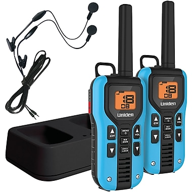 Uniden 40 Mile 2-Way FRS/GMRS Radios With Headsets, Blue, 2/Pack (UNNGMR40552KHS)