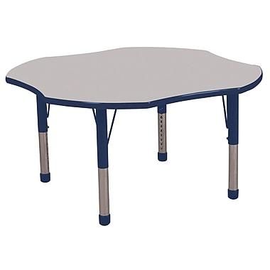 ECR4kids Chunky Legs 48'' Clover Table, Grey/Navy (ELR-14101-GNV-C)