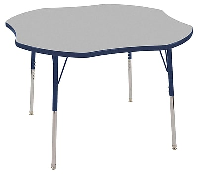 ECR4kids Toddler Swivel Glide 48'' Clover Table, Grey/Navy (ELR14101GNVTS)
