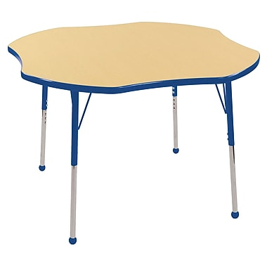 ECR4kids Toddler Ball Glide 48'' Clover Table, Maple/Blue (ELR14101MBLTB)