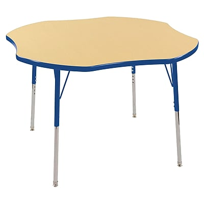 ECR4kids Toddler Swivel Glide 48'' Clover Table, Maple/Blue (ELR14101MBLTS)
