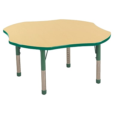 ECR4kids Chunky Legs 48'' Clover Table, Maple/Green (ELR-14101-MGN-C)