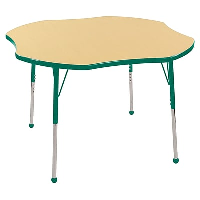 ECR4kids Toddler Ball Glide 48'' Clover Table, Maple/Green (ELR14101MGNTB)