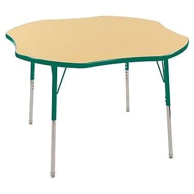 ECR4kids Standard Swivel Glide 48'' Clover Table, Maple/Green (ELR14101MGNSS)