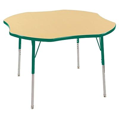 ECR4kids Toddler Swivel Glide 48'' Clover Table, Maple/Green (ELR14101MGNTS)