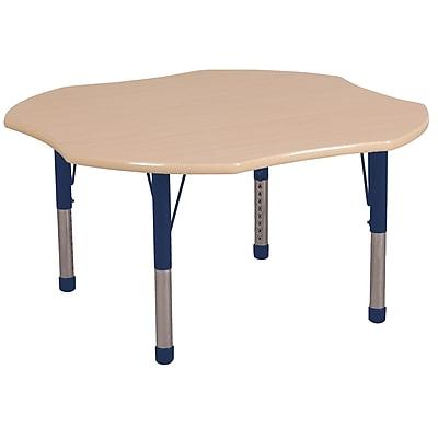 ECR4kids Chunky Legs 48'' Clover Table, Maple/Maple/Navy (ELR14101MMNVC)