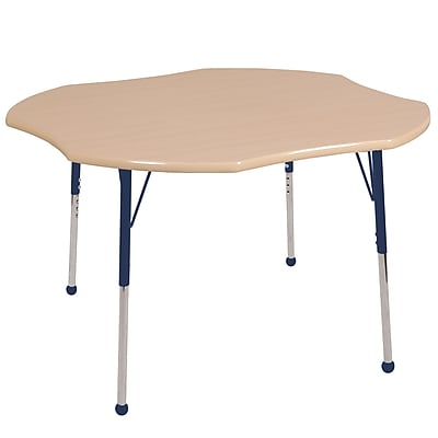 ECR4kids Toddler BG 48'' Clover Table, Maple/Maple/Navy (ELR14101MMNVTB)